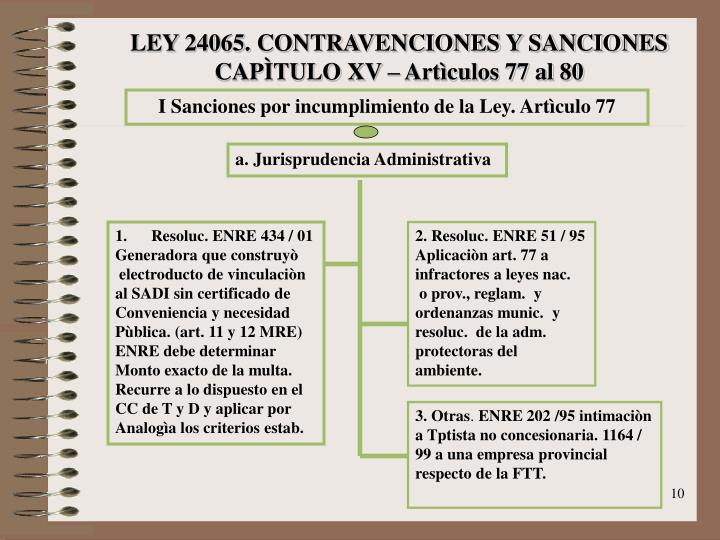 LEY 24065. CONTRAVENCIONES Y SANCIONES