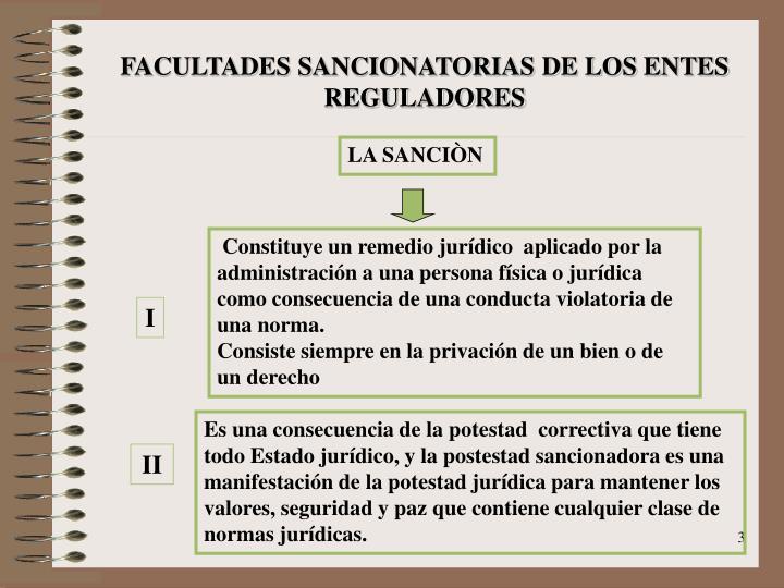 FACULTADES SANCIONATORIAS DE LOS ENTES REGULADORES