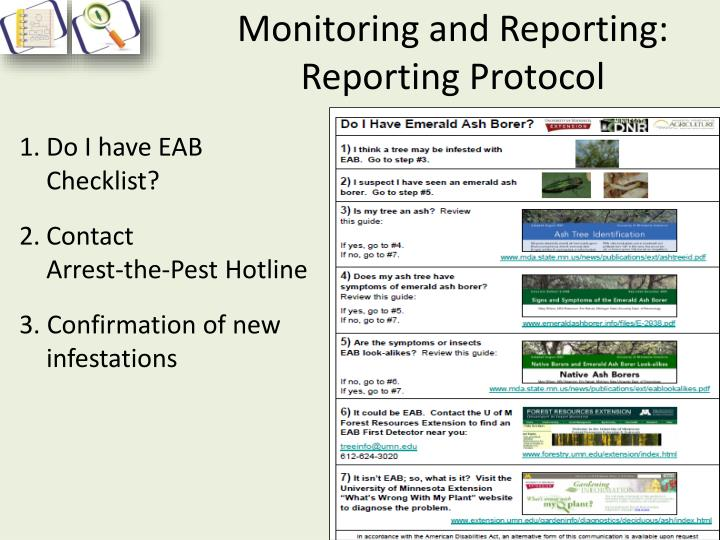 Monitoring and Reporting: Reporting Protocol