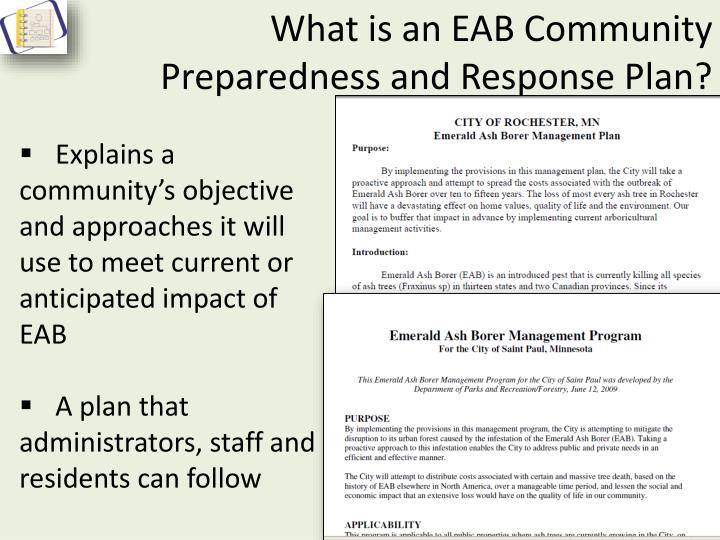 What is an EAB Community Preparedness and Response Plan?