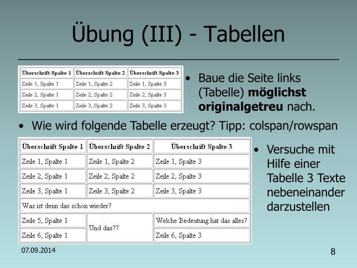 Übung (III) - Tabellen