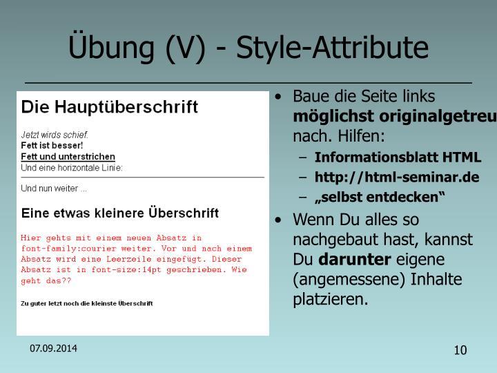 Übung (V) - Style-Attribute