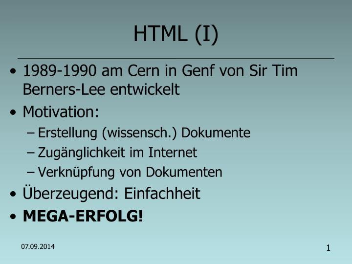 HTML (I)