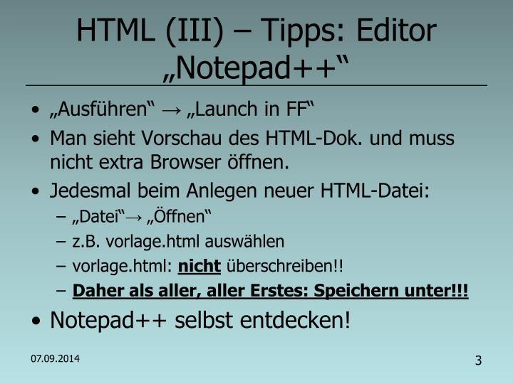 """HTML (III) – Tipps: Editor """"Notepad++"""""""