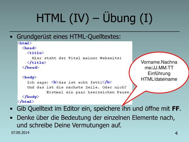 HTML (IV) – Übung (I)
