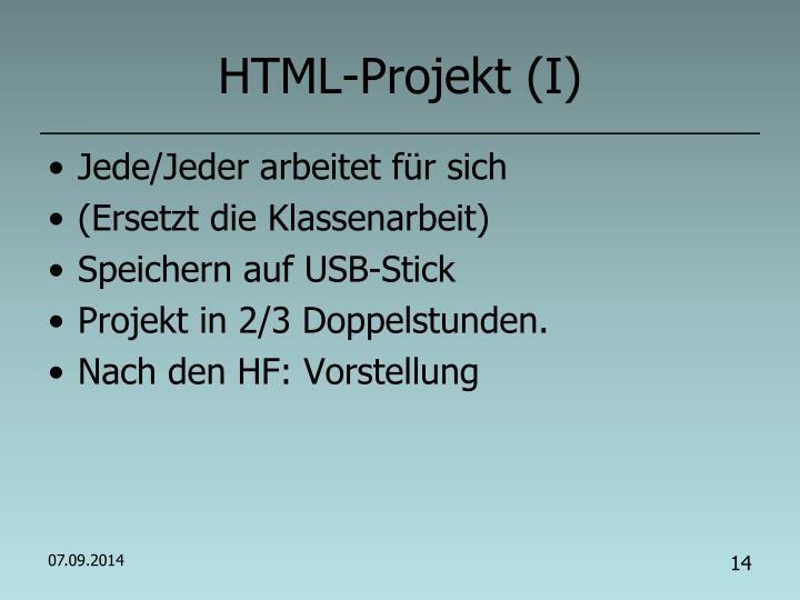 HTML-Projekt (I)