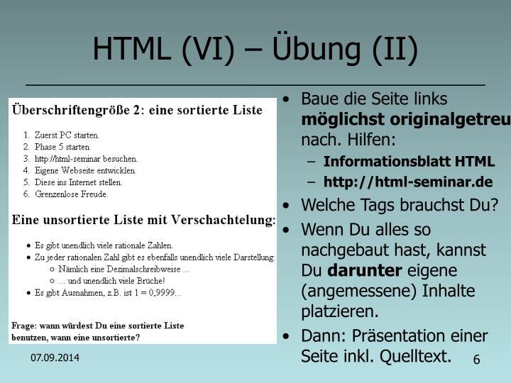 HTML (VI) – Übung (II)