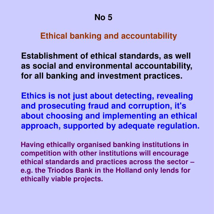 Ethical banking and accountability