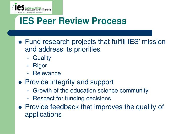 IES Peer Review Process