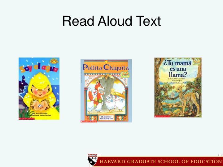 Read Aloud Text