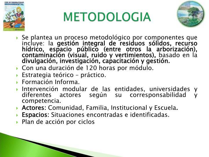 Se plantea un proceso metodológico por componentes que incluye: la
