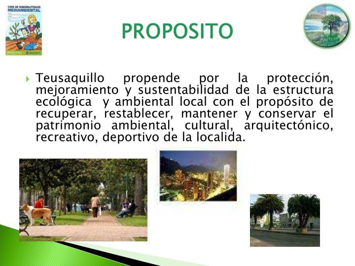 Teusaquillo propende por la protección, mejoramiento y sustentabilidad de la estructura ecológica  y ambiental local con el propósito de recuperar, restablecer, mantener y conservar el patrimonio ambiental, cultural, arquitectónico, recreativo, deportivo de la