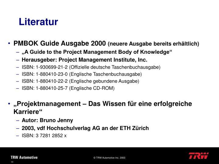PMBOK Guide Ausgabe 2000