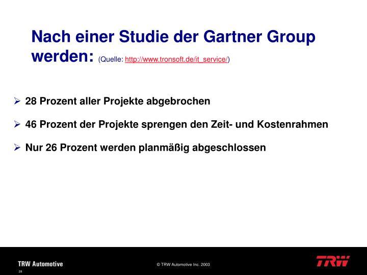 Nach einer Studie der Gartner Group werden:
