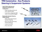 trw automotive key products steering suspension systems