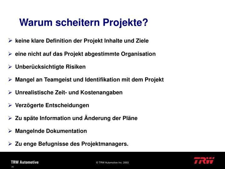 Warum scheitern Projekte?