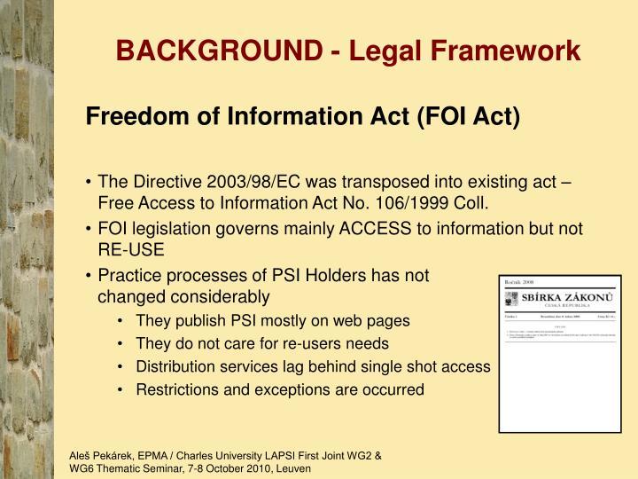 BACKGROUND - Legal Framework