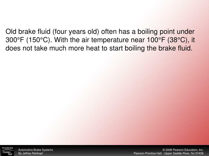 Old brake fluid (four years old) often has a boiling point under 300°F (150°C). With the air temperature near 100°F (38°C), it does not take much more heat to start boiling the brake fluid.