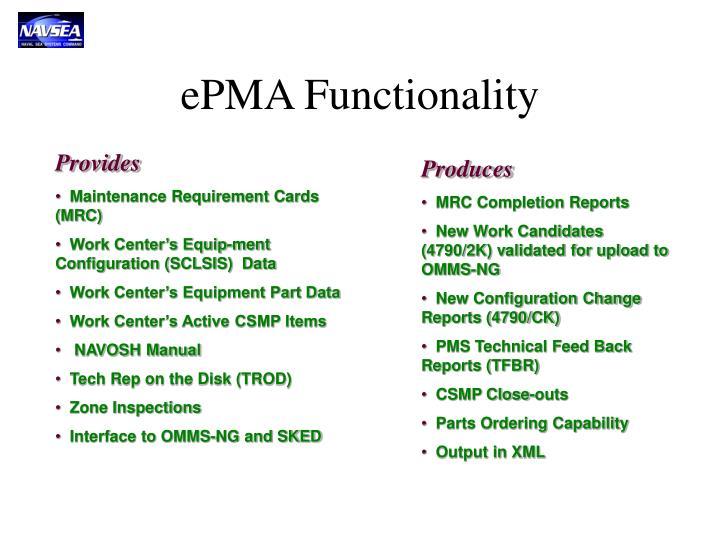 ePMA Functionality