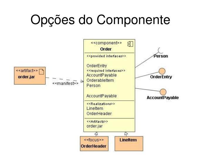 Opções do Componente