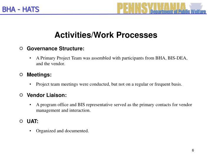 Activities/Work Processes