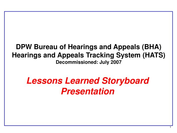 DPW Bureau of Hearings and Appeals (BHA)
