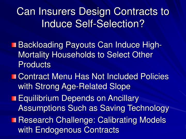 Can Insurers Design Contracts to Induce Self-Selection?