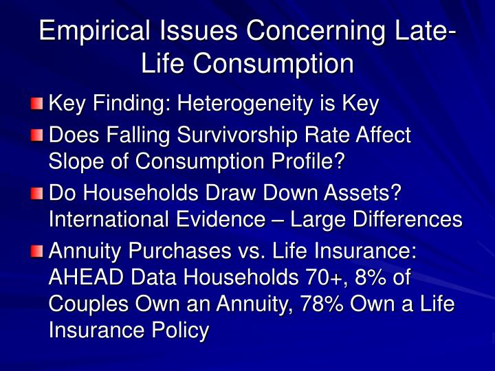 Empirical Issues Concerning Late-Life Consumption