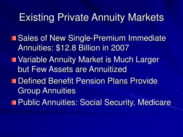 Existing Private Annuity Markets