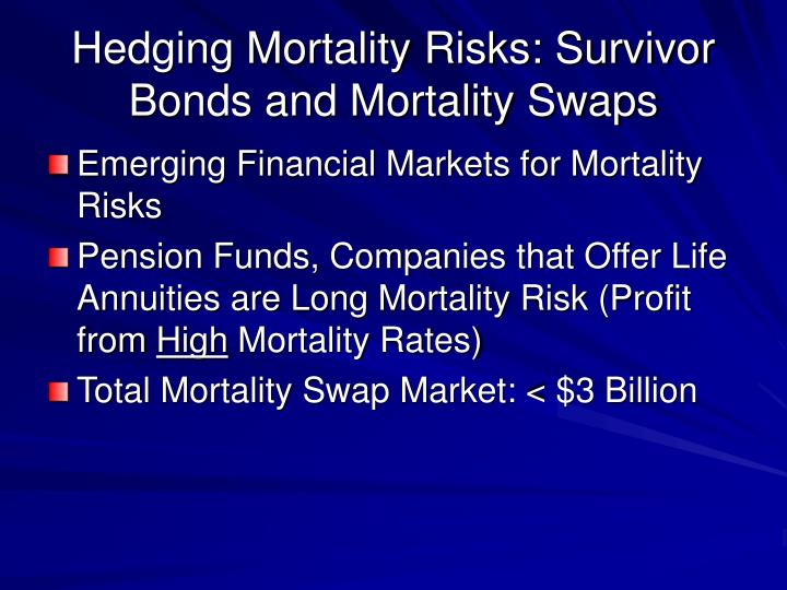 Hedging Mortality Risks: Survivor Bonds and Mortality Swaps