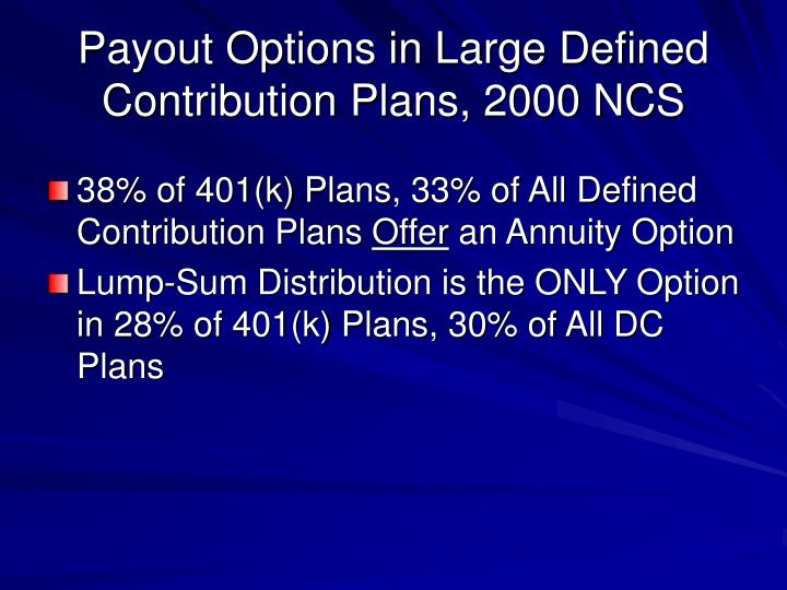 Payout Options in Large Defined Contribution Plans, 2000 NCS