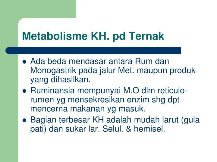 Metabolisme KH. pd Ternak