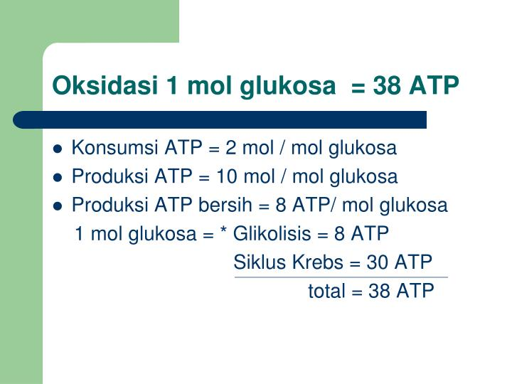 Oksidasi 1 mol glukosa  = 38 ATP