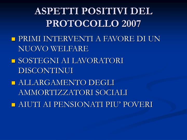 ASPETTI POSITIVI DEL PROTOCOLLO 2007