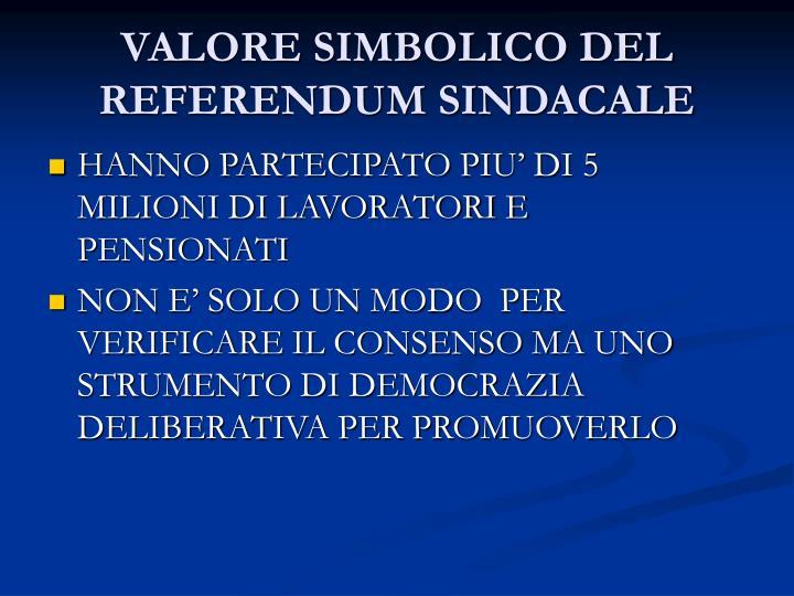 VALORE SIMBOLICO DEL REFERENDUM SINDACALE