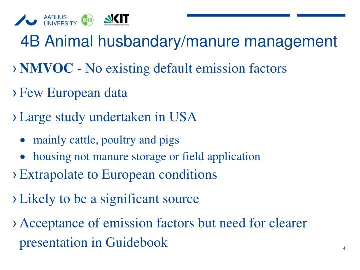 4B Animal husbandary/manure management