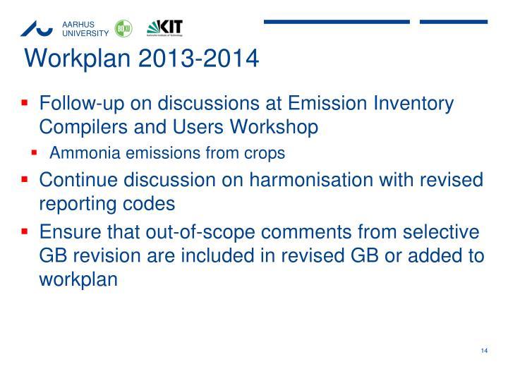 Workplan 2013-2014