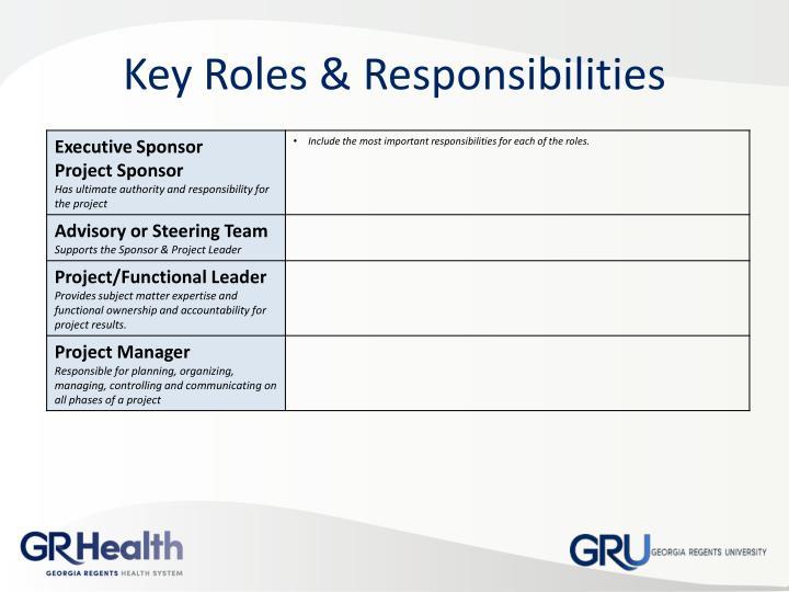 Key Roles & Responsibilities