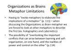 organizations as brains metaphor limitations