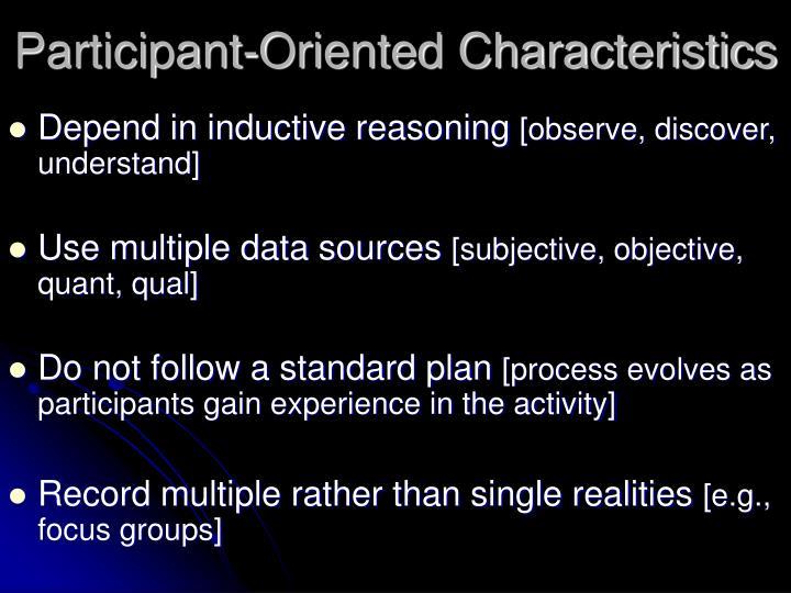 Participant-Oriented Characteristics