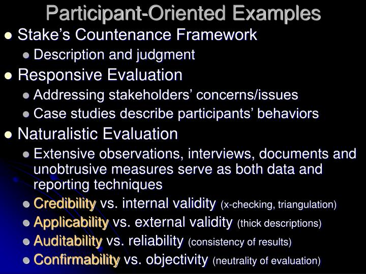 Participant-Oriented Examples
