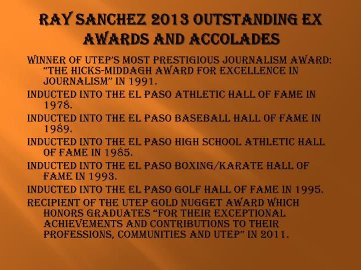 Ray Sanchez 2013 Outstanding EX