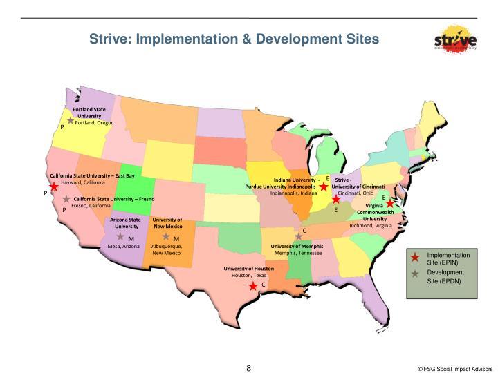 Strive: Implementation & Development Sites