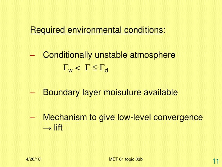 Required environmental conditions