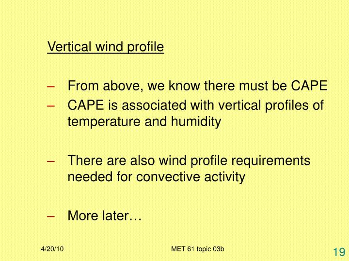 Vertical wind profile