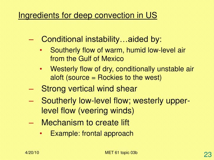 Ingredients for deep convection in US