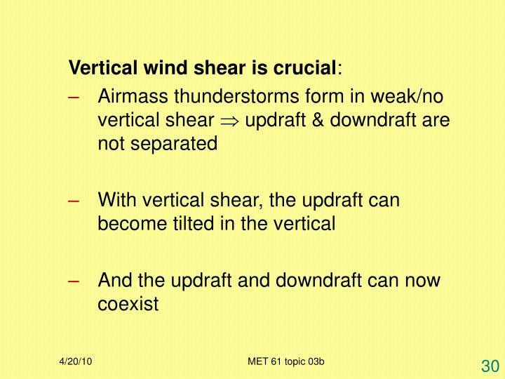 Vertical wind shear is crucial