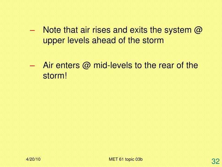Note that air rises and exits the system @ upper levels ahead of the storm