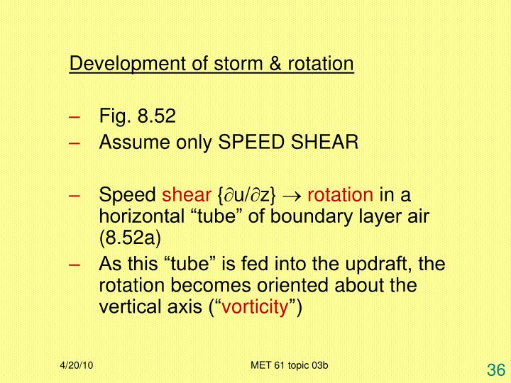 Development of storm & rotation