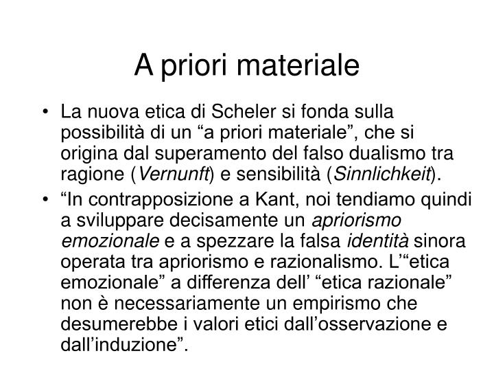 A priori materiale
